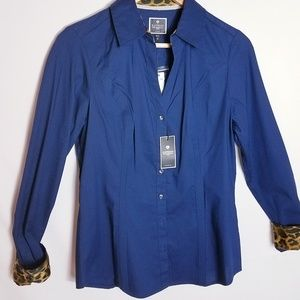 Size M Express Essential Blue Long Sleeve Blouse